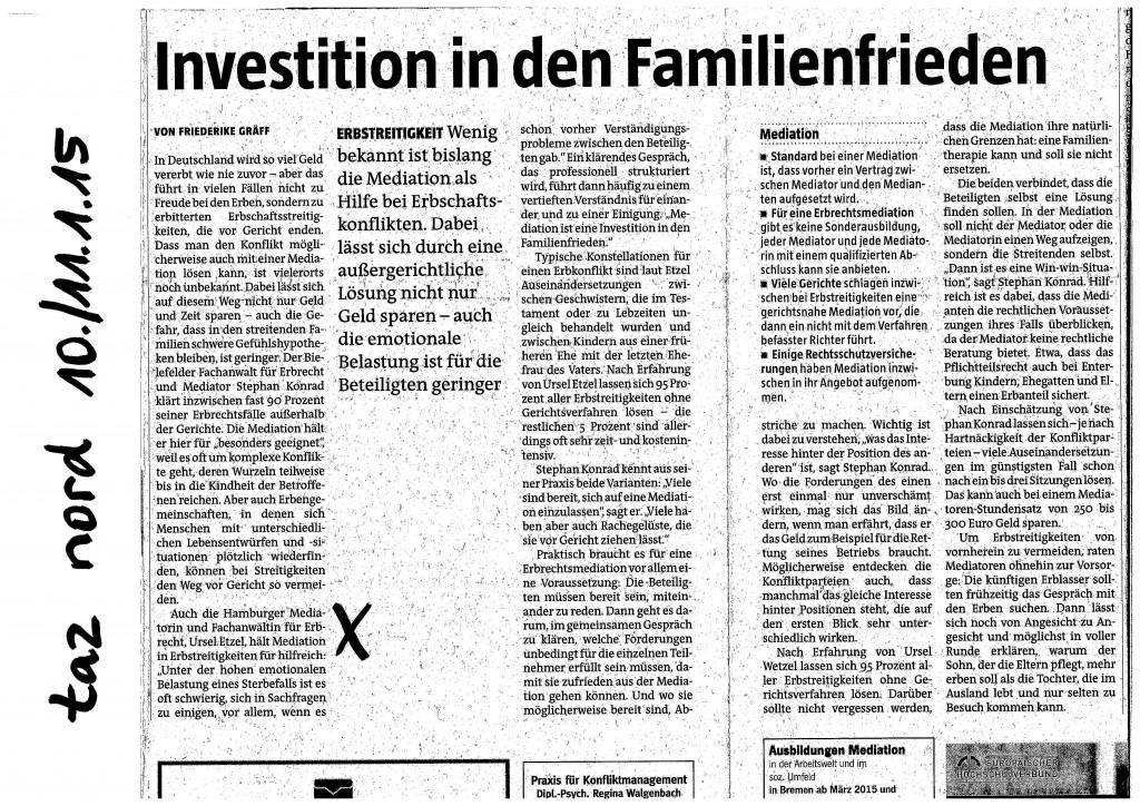Investition in den Familienfrieden